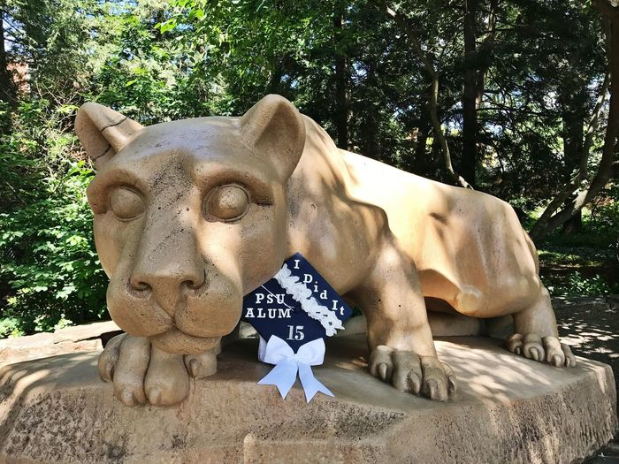 Penn State Girl 💙 Pennsylvania Penn State Lion Lion Shrine Grad Graduate Alumni Alum Photography Photo Photoshoot Photooftheday Grad Cap Blue And White Day Outdoors Outdoor Photography No People Sculpture Close-up Check This Out Hello World Lifestyles College College Life