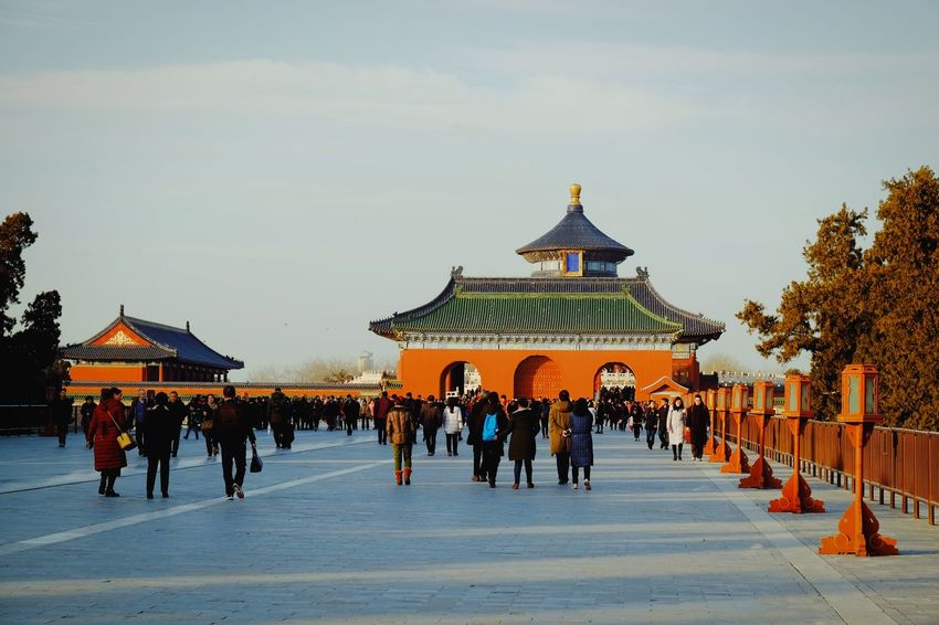 Travel Destinations History Travel Tourism Architecture Group Of People Outdoors Winter People Large Group Of People King - Royal Person Light And Shadow Cloud - Sky Old Building  Warm Winter Temple Of Heaven Park FUJIFILM X-T10 Old Architecture Beijing, China Traditional Building China Culture Traditional Architecture Travel Roof Royalty