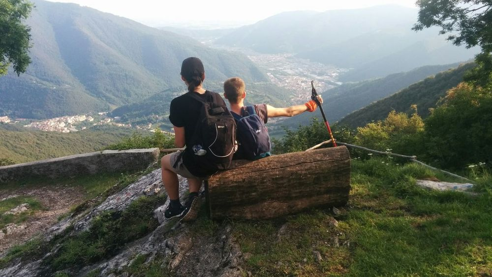 Adventure Beauty In Nature Brescia Hiking Leisure Activity Mountain Outdoors Overview Scenics Sitting Togetherness Two People Backside Portrait