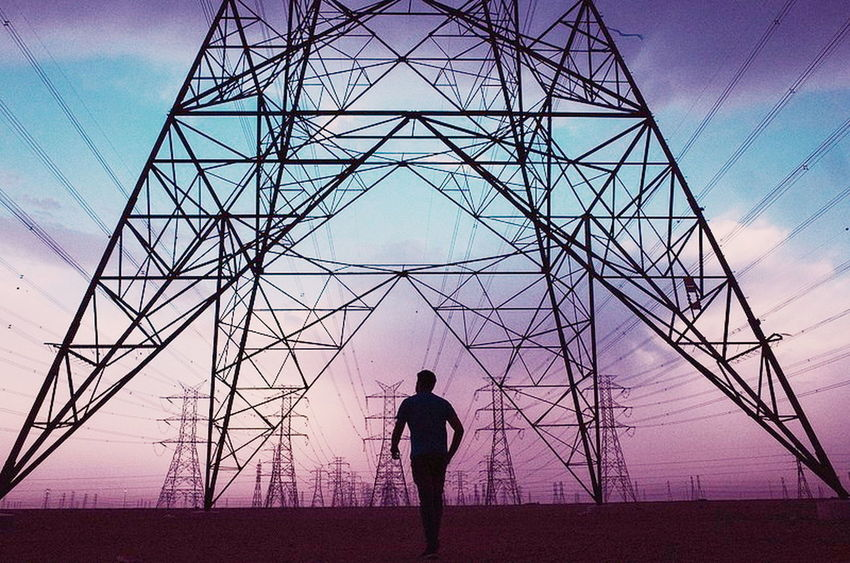 Streetphotography Kuwait Technology Electricity Pylon Silhouette Men Politics And Government Cable Electricity  Industry Fuel And Power Generation Power Supply