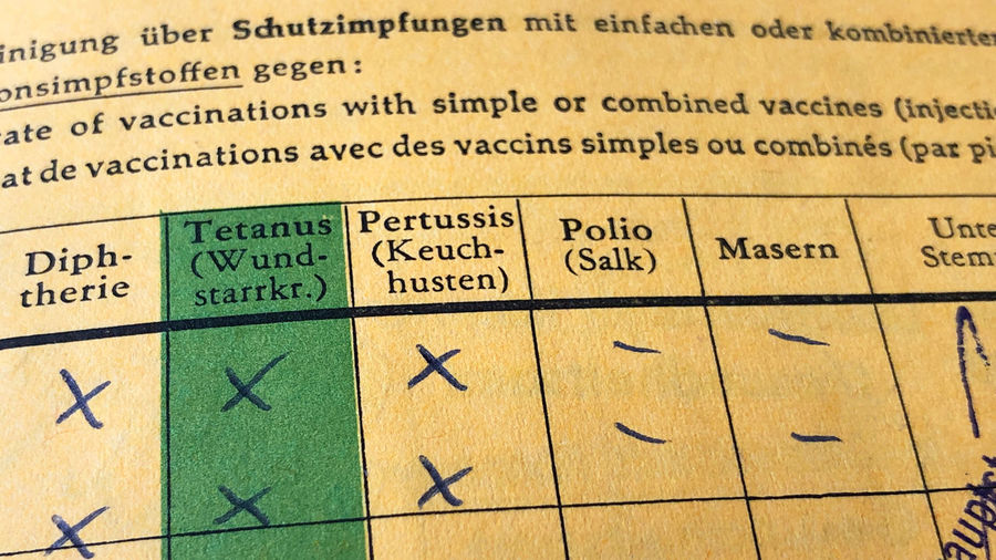 German international certificate of vaccination International Certificate Of Vaccination Impfpass Carte Jaune German Germany Deutsch Vaccination Vaccine Anti-vaxxers Anti-vaccination Disease Virus Childhood Illness Contagious  Illness Sickness Healthcare And Medicine Medical Health Yellow Card Records Document Certificate No People Close-up Macro Polio Measles Epidemic Masern Diphtheria Tetanus Pertussis