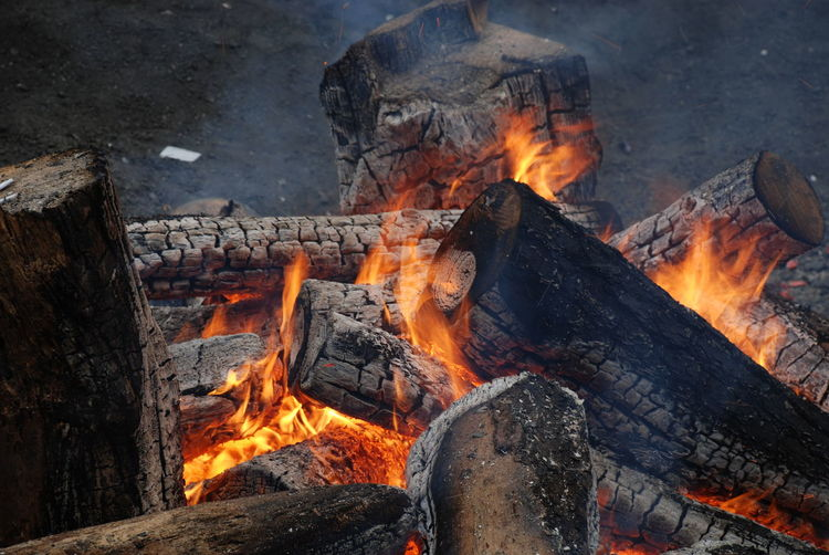 Close-Up Of Firewood Burning Outdoors