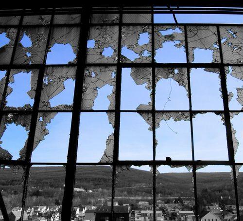 Abandoned Buildings Old Coal Mine Broken Windows Broken Glass Looking Through The Window Color Splash Blue Sky Urbex