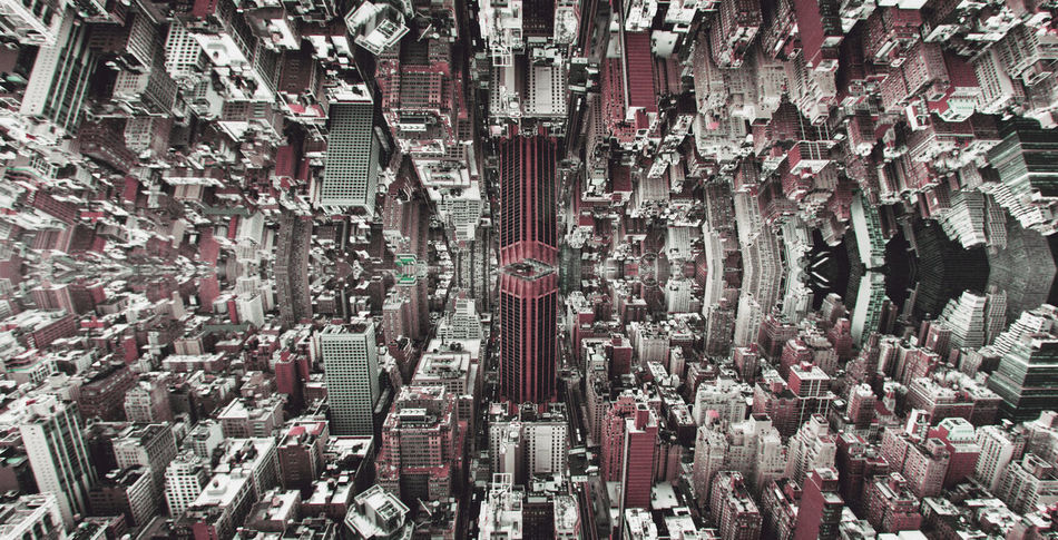 New York City buildings as seen from the Empire State Building's rooftop. Twisted in Photoshop. Architecture Beauty In Nature Big Data Built Structure Complexity Distopia Distortion Fold Inception Large Group Of Objects Mirrored New York New York City Outdoors Skyscraper First Eyeem Photo
