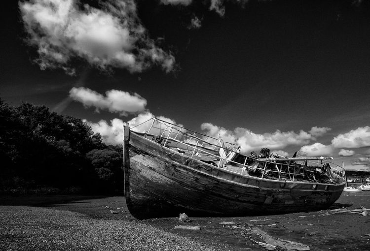 """Wreck of the """"Grey Lady"""" Beached & Abandoned 2 ( B & W ) OlympusPEN Monochrome Blackandwhite Beached Abandoned Landscape Boats Light And Shadow"""