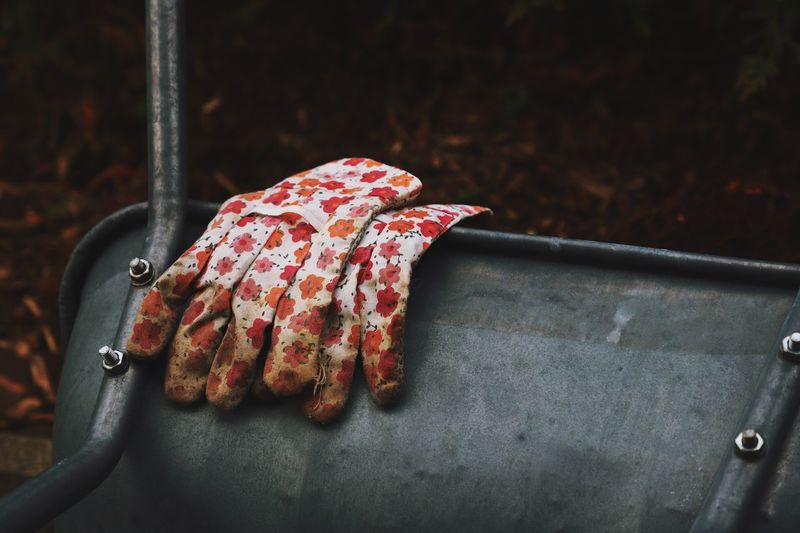 Close-up of dirty gloves