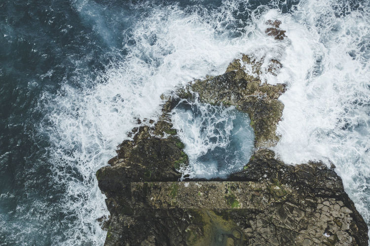 Madeira Madeira Island Ocean Aerial Photography Aerial Drone  Waves Water Sea Rock Wave Beauty In Nature Nature Outdoors Power In Nature Portugal São Jorge Ponta De São Jorge Island Trip Vacation Travel Travel Photography