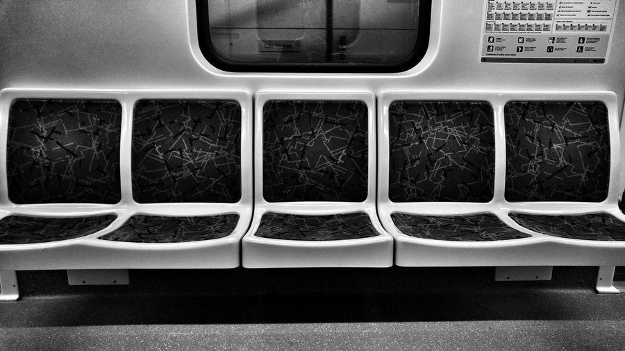 Empty seats in metro train