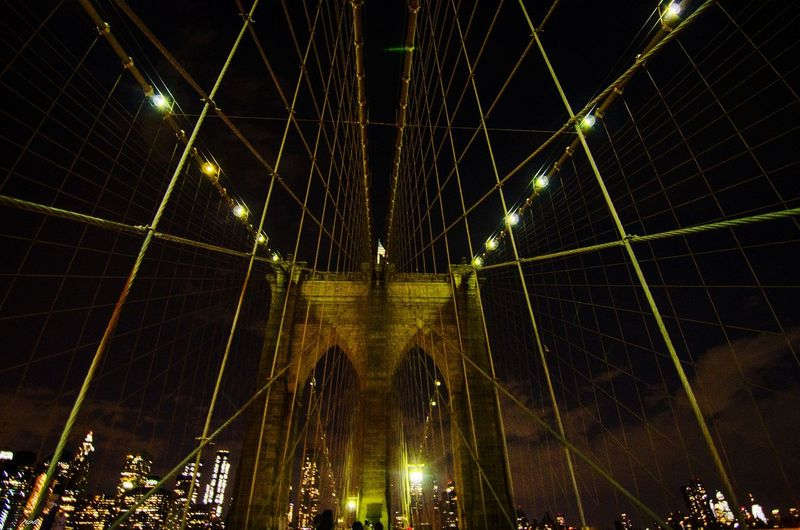 Brooklyn Bridge #photography #EyeEmNewHere #EyeEm #streetphotography #NewYork  #brooklyn #Brooklynbridge City Illuminated Suspension Bridge Bridge - Man Made Structure Architecture Sky Built Structure Cable-stayed Bridge Office Building