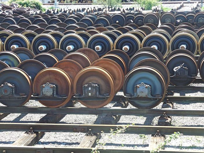 Backgrounds Day Full Frame In A Row No People Outdoors Railway Railway Station Railway Track Repair Parts Repetition Side By Side Train Train Station Train Wheel Train Wheels Beautiful Organized My Year My View