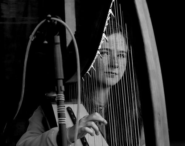 Awaiting Black And White Blackandwhite Girl Harp Ireland Musician Portrait Music Brings Us Together