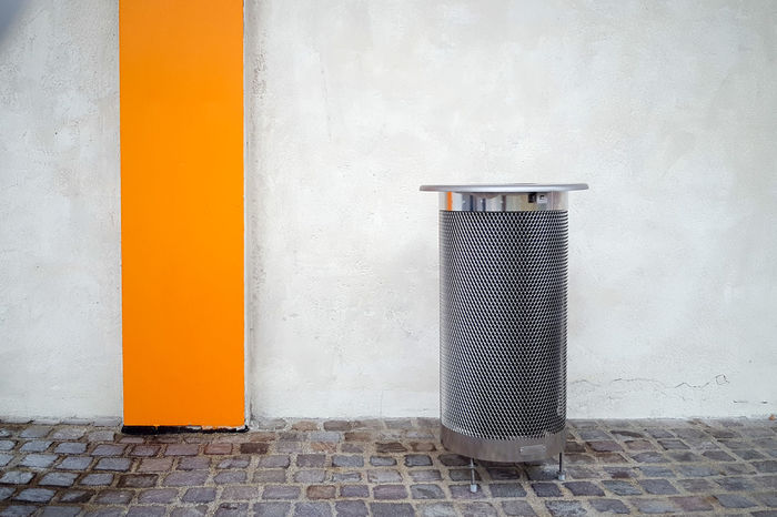 Architecture Built Structure Close-up Closed Day Door Geometry Everywhere Geometryurban No People Outdoors Protection Safety Security Trash Wall Wall - Building Feature Wastebasket Yellow Recycle Recyclebin