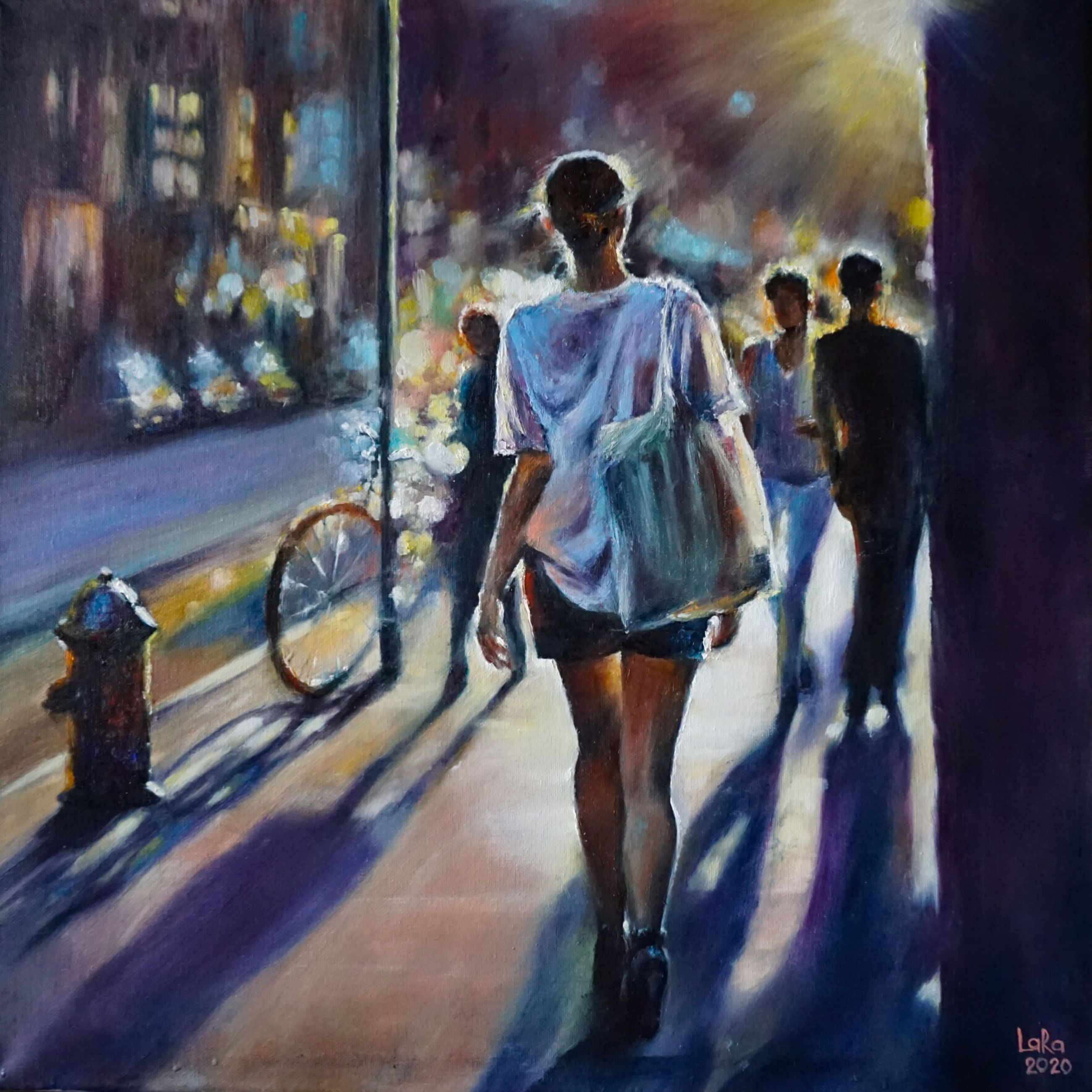 city, full length, walking, rear view, architecture, motion, casual clothing, group of people, incidental people, people, adult, day, street, outdoors, real people, glass - material, illuminated, blurred motion, shorts