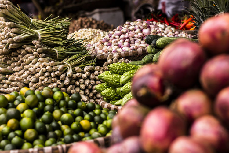 Close-Up Of Vegetables For Sale On Market Stall
