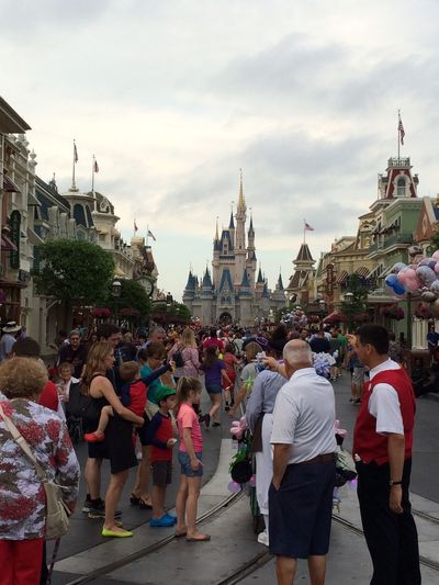 Disney World April Showcase Architecture Building Exterior Built Structure Crowd Famous Place Happiest Place On Earth Earlier  Large Group Of People Leisure Activity Lifestyles Magic Kingdom :) Men Mixed Age Range Person Sky Walking Showcase April On The Way