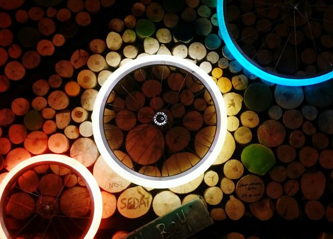 Light Circle Logs Large Group Of Objects No People Business Finance And Industry Store Variation Abundance Indoors  Illuminated Night Retail  10
