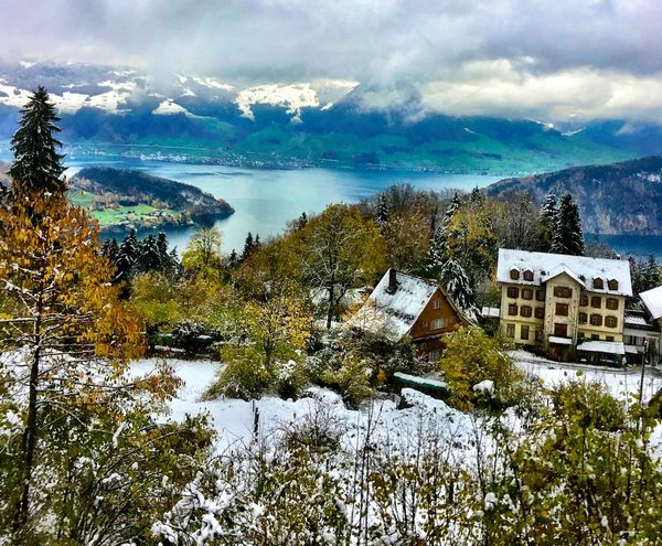 Europe Switzerland❤️ Rigikulm Mountain Winter Rigi Kulm Rigi Switzerland Swiss Mountains House Water Building Exterior Architecture Built Structure