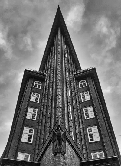 Skyscraper Spire  Tall - High Tower Spirituality Outdoors Place Of Worship Belief No People Day Nature Religion Building Building Exterior Architecture Cloud - Sky Built Structure Low Angle View Sky Hamburg Chile Chilehaus Chilehaus Hamburg Germany