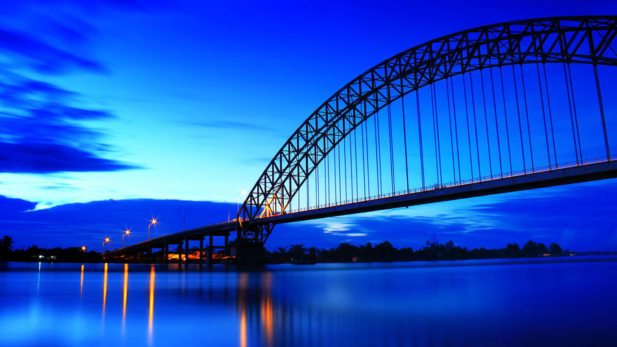 Blue hour at Rumpiang bridge, Marabahan, South Borneo - Indonesia. Architecture Blue Bridge Bridge - Man Made Structure Built Structure Cloud - Sky Connection Dusk Illuminated Nature Night No People Outdoors Purple Reflection River Sky Transportation Water Waterfront