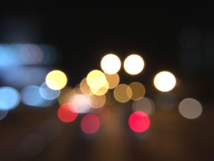 Defocused lights on street