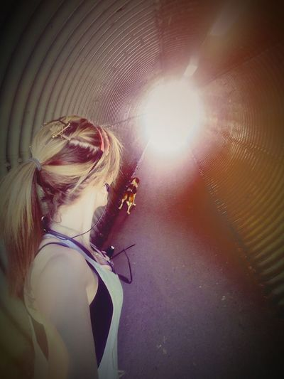 One Person Light Beam Tunnel Illuminated Miniaturebeagle Lyssanicole Final Endlessness One Way Notes From The Underground OpenEdit Follower Faith Fearlessness Journey Love Beagle