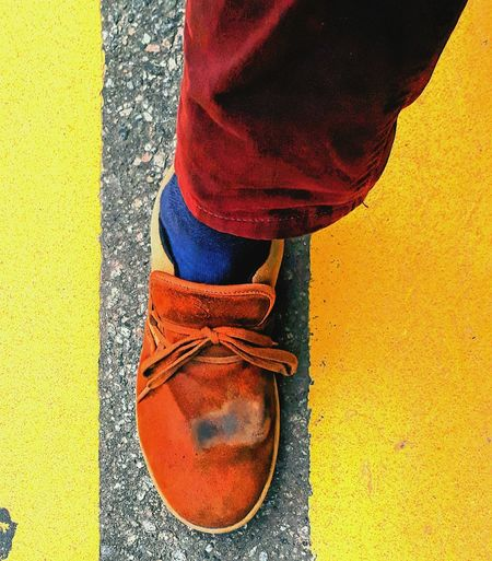Shoe Low Section One Person Human Body Part Human Leg Yellow Day Lifestyles Real People Outdoors People Red Adult One Man Only Close-up Only Men Adults Only Out Of The Box