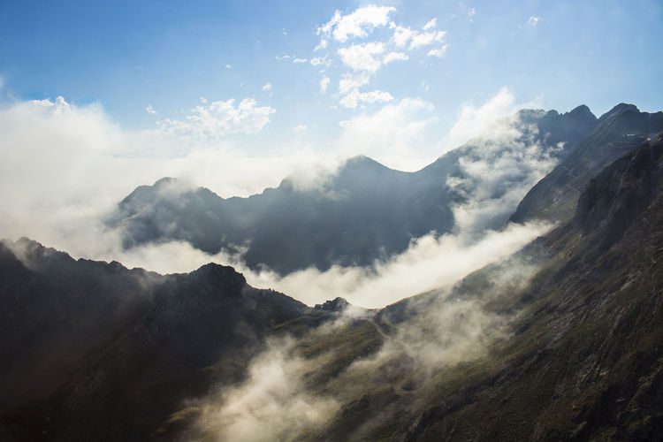 Scenic view of mountains with clouds against sky
