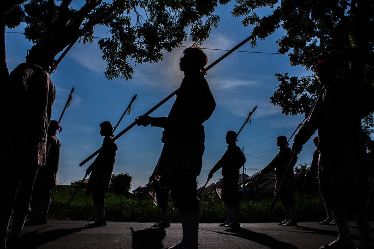 Blue Sky Culture And Tradition Javanese Tradition Kirab People Silhouette Sky Yogyakarta