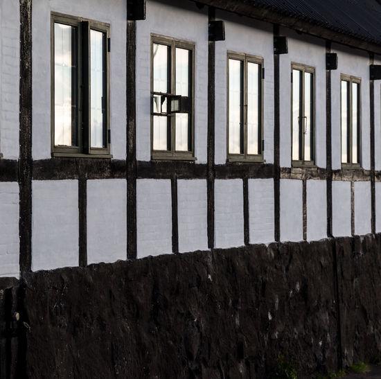 Architecture Blackandwhite Fachwerkhaus Geometrical House, Home, Building Mirror Reflection White Window
