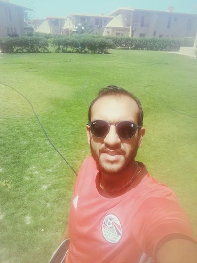Egypt World Cup 2018 Soccer Field Portrait Sportsman Sport Looking At Camera Sunglasses Grass Close-up Green Color