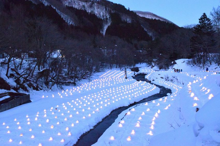 Nature Landscape Tree Beauty In Nature No People Tranquility Snow Outdoors Scenics Sky Cold Temperature Day Night View Candle Night Nature Illuminated The Countryside At Night Kamakura Japan Urban Skyline