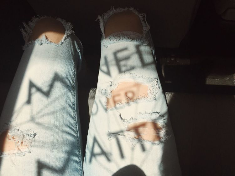 Sticker reflection Sticker Reflection Thigh Legs Ripped Jeans