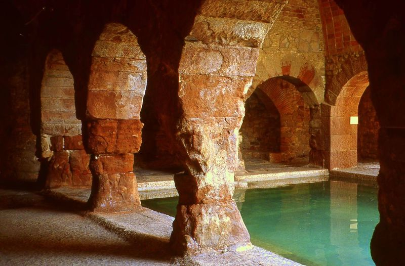 Ancient Civilization Arch Caldes De Montbui,province Of Barcelona Historic History Old Ruined Thermal Baths Of Ancient Roman Times