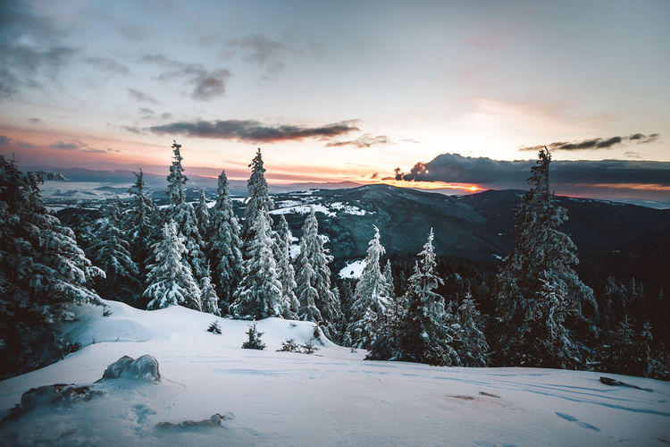 Majestic sunset in the winter mountains landscape. Dramatic sky Majestic Dramatic Sky Winter Cold Temperature Snow Sky Beauty In Nature Sunset Tranquility Tranquil Scene Scenics - Nature Environment Cloud - Sky Nature Covering Mountain Landscape No People Non-urban Scene Frozen Land Outdoors Snowcapped Mountain Picturesque Landscape_Collection