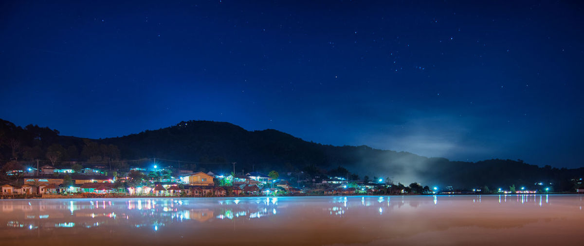 Lowlight Nightphotography Northen Thailand Thailand Travel Photography Beauty In Nature Illuminated Long Exposure Mountain Nature Night Outdoors Scenics Sky Star - Space Stars Water