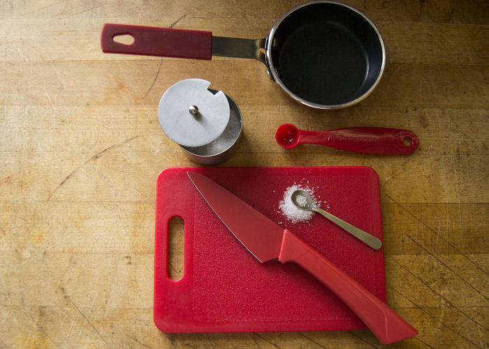 Clean Clean Eating Close-up Cooking Cooking A Meal Cooking At Home Cooking Dinner Day Indoors  Kitchen Kitchen Art Kitchen Utensils Knife No People Organic Organic Food Pan Pot Red Salt Wood Wood - Material