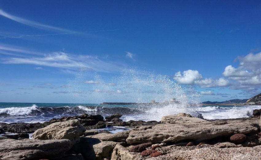 Sony A6000 Sea Horizon Over Water Sky Water Nature Wave Waves Sardinia Italy Blue Rock - Object Cloud - Sky Scenics Beach Outdoors Power In Nature Day No People Motion