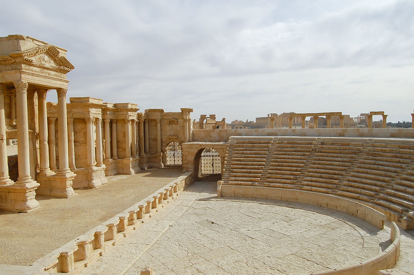Roman Theater in Palmyra Ruins - Syria Palmyra Ruins Syria  Ancient Civilization Archaeology Architecture Old Ruin Palmyra Roman Roman Theater