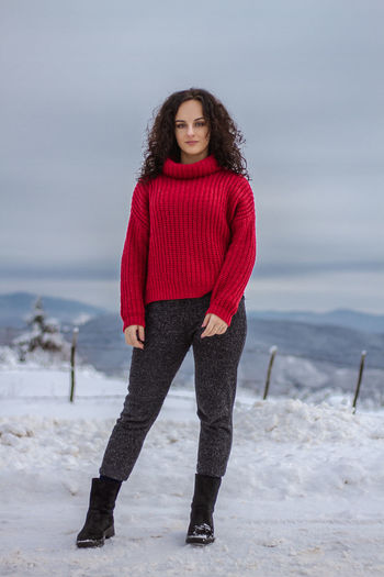 Bosnia And Herzegovina Sarajevo Snow Snowcapped Mountain Beauty Beauty In Nature One Person Young Adult Winter Red Cold Temperature Young Women Clothing Full Length Warm Clothing Land Portrait Beautiful Woman Standing Leisure Activity Looking At Camera Women Front View Hairstyle Outdoors