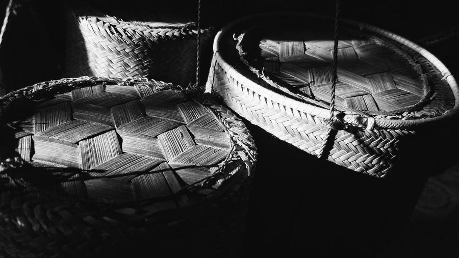 High angle view of hat in basket
