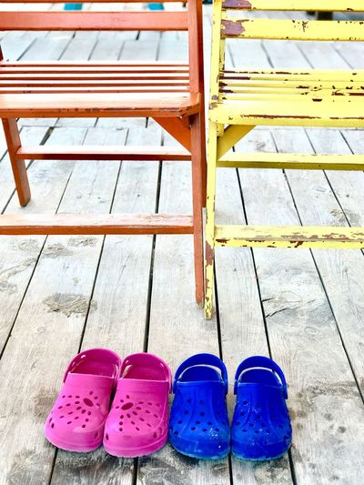 Pair Shoe Day No People Outdoors Close-up Blue Color Pink Color Shoe High Angle View Summer Vacations Relaxing