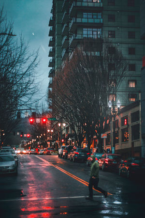 Car Road Evening EyeEm Getting Inspired Getty Images Walking Night Moon Reflection Rain New Dramatic Portland Explore Moon Night Night Transportation Illuminated Road Outdoors Built Structure Architecture City Building Exterior People Sky Tree One Person