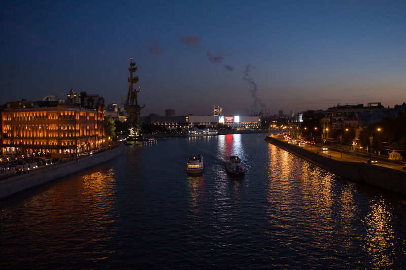 Building Exterior Architecture Built Structure Illuminated Water City Sky Waterfront Night Nautical Vessel River Reflection Transportation No People Nature Building Mode Of Transportation Outdoors Cloud - Sky Cityscape