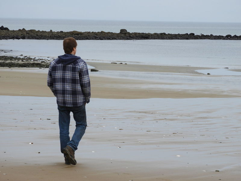 Man Walking On Beach One Man Ocean Beach Photography Plum Island Nature Photography Beauty In Nature Atlantic Ocean Beach Rear View Sea Full Length One Person Adults Only One Man Only
