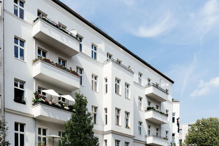 Low angle view of old residential buildings in berlin mitte.