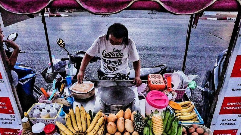 Southern Thailand Evening Southeast Asia ASIA Phuket Thailand Motorbike Vendor Food Cart Spotted In Thailand Pancake Banana Pancake Streetfood Worldwide
