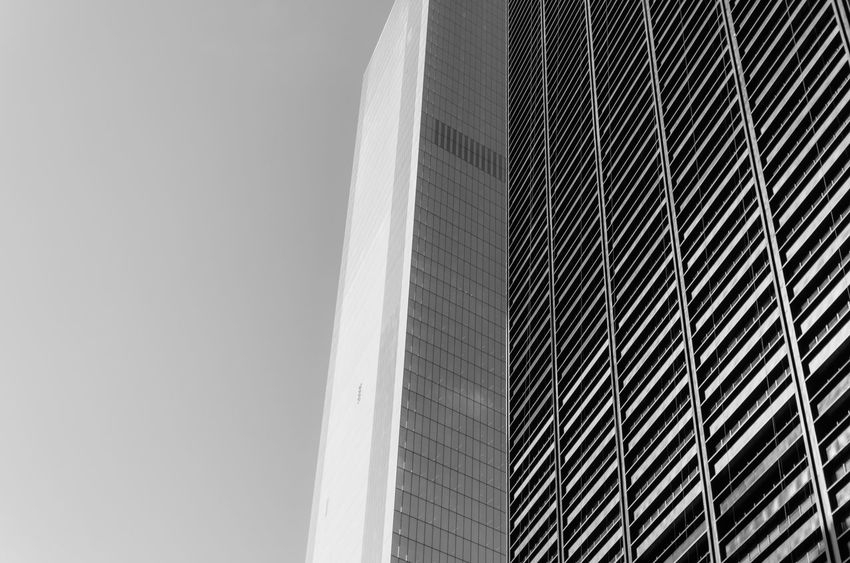 Abstract Architecture Blackandwhite Building Building Exterior Built Structure Capital Cities  City Clear Sky Engineering EyeEm In NYC 2015 Geometry Low Angle View Modern New York Skyscraper Tower Monochrome Photography The Architect - 2018 EyeEm Awards