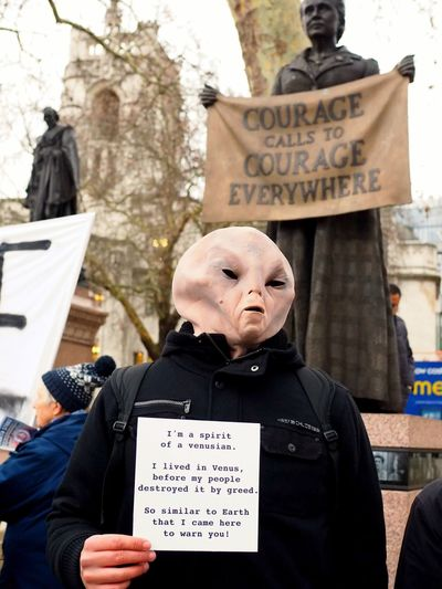London Earth Strike // Climate Protest // Parliament green 15/01/2019 Green Protest Climate Change Protest Environment Protest Earth Strike Protest Protesters Stevesevilempire Steve Merrick Olympus OM-D LONDON❤ Text Communication One Person Western Script Winter Day Architecture