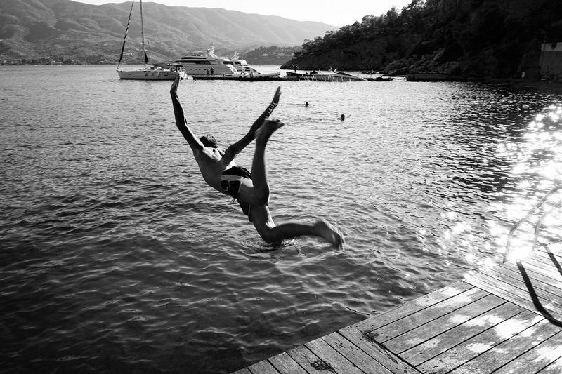 Freedom Freedom Summer Sea Aegean Sea Art Swimming Streetphotography hSummertime mNature rJumping nGreece cLandscape pWanderlust sBlackandwhite Photography Leisure Activity Lifestyles Outdoors