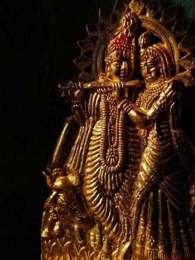 lord krishna Lord Krishna & Radha Celebration Black Background No People Night Gold Colored Tradition Close-up Indoors  First Eyeem Photo